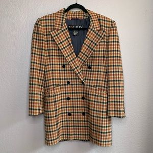 Escada Double Breasted Plaid Wool Cashmere Blazer